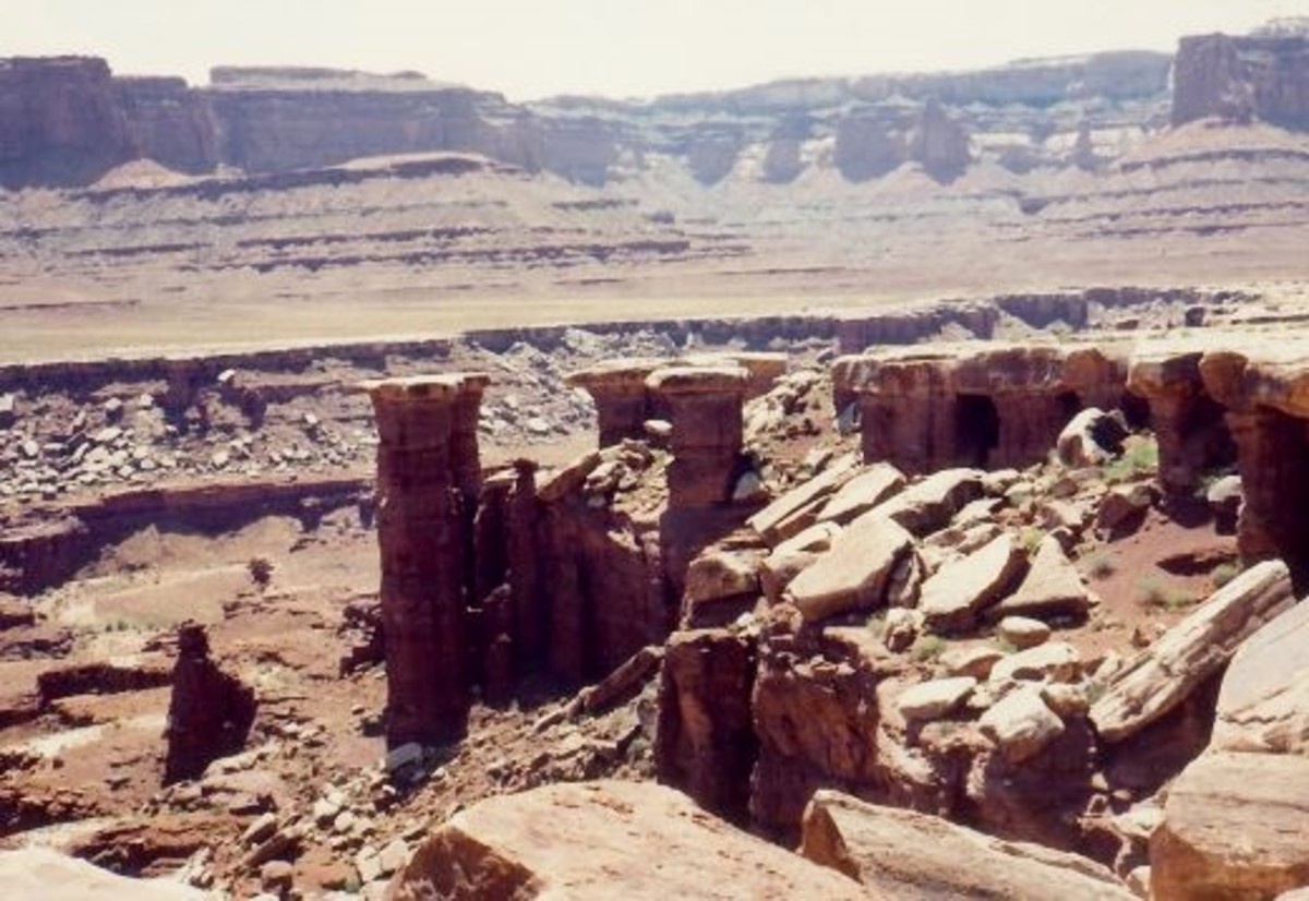 These rock formations are called the Nuts and Bolts in Canyonlands National Park.