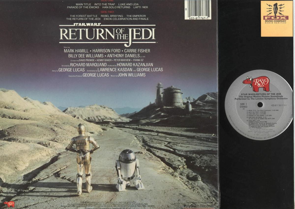 """Back Album Cover Star Wars """"Return of the Jedi"""" RSO Records 422-811767-1"""