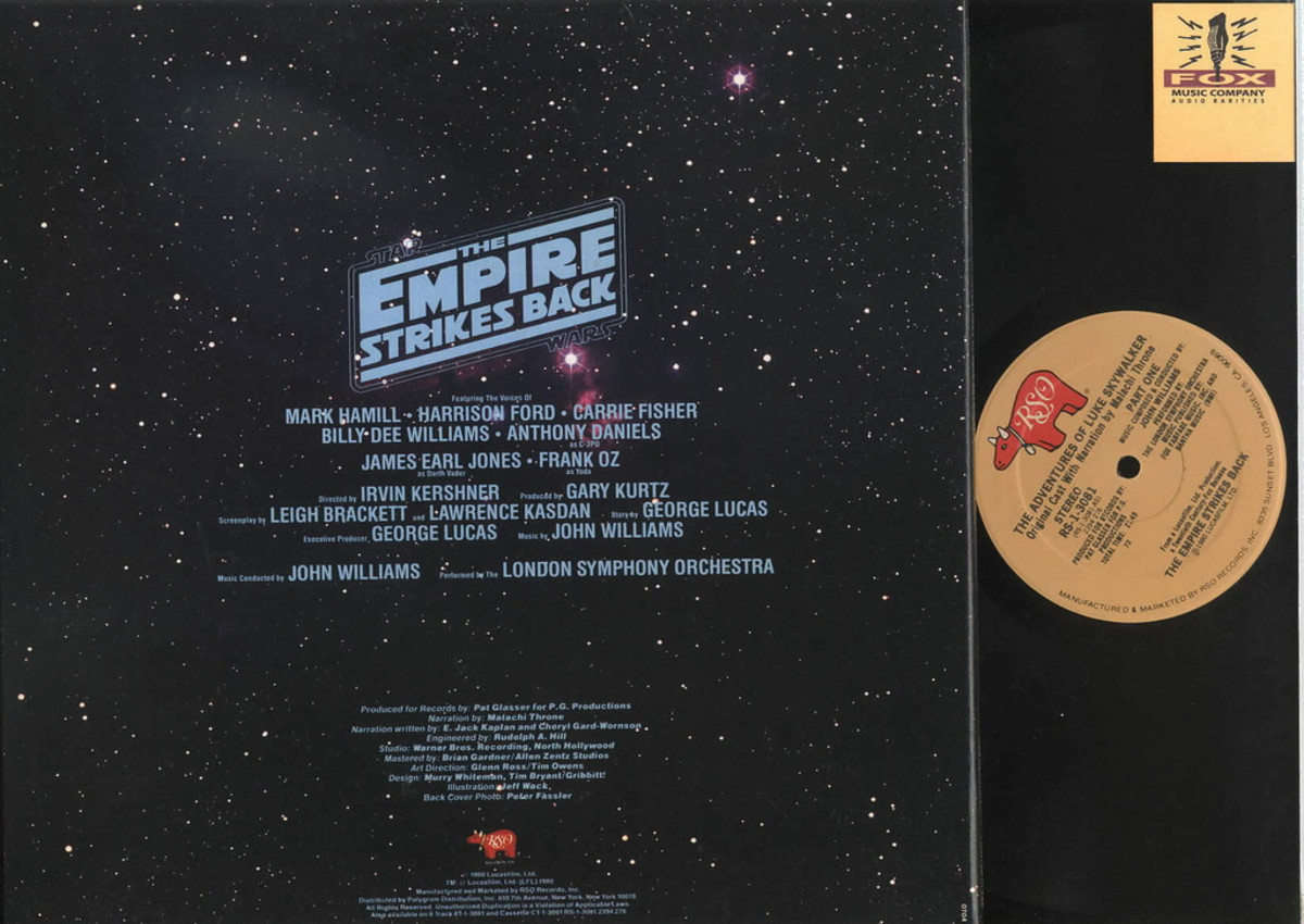 "Back Album Cover Star Wars ""Empire Strikes Back"" The Adventures of Luke Skywalker RSO Records RS-1-3081 12"" LP Vinyl Record, US Pressing (1980)"