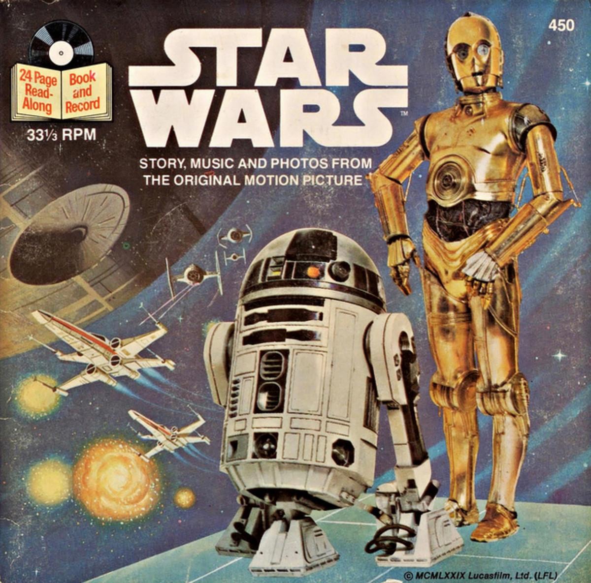 "Star Wars Buena Vista Records 450 7"" Vinyl Record, US Pressing (1979) 33 1/3 rpm w/ 24 Page Read Along Book"
