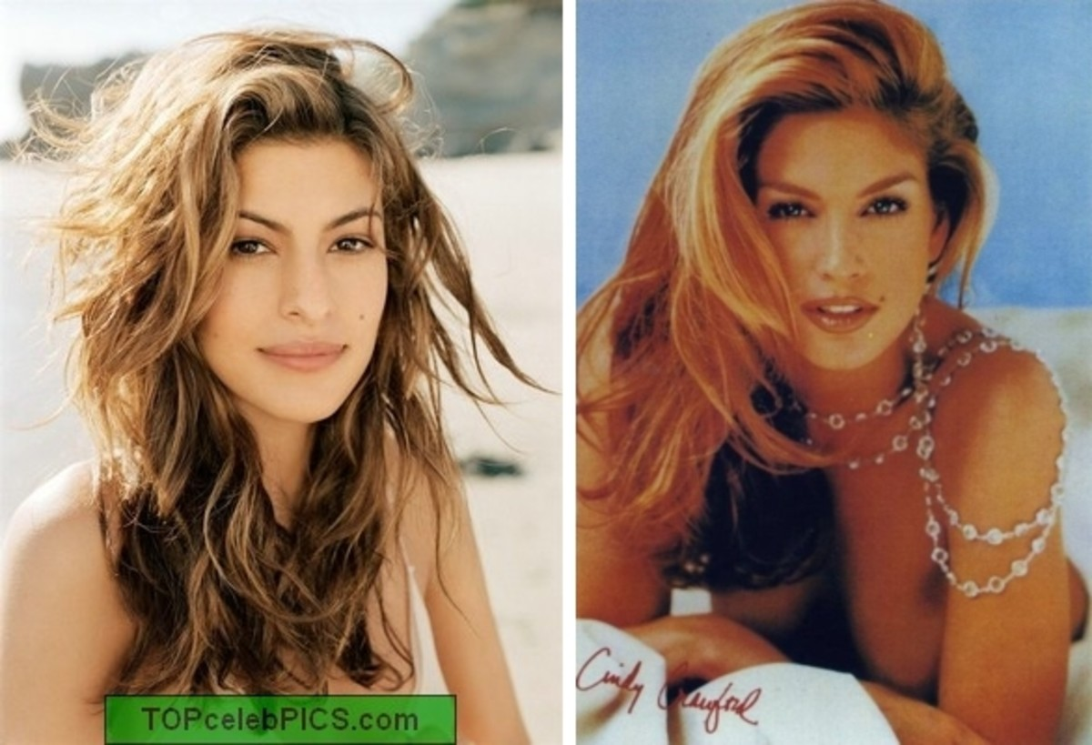 left Eva Mendes; right Cindy Crawford