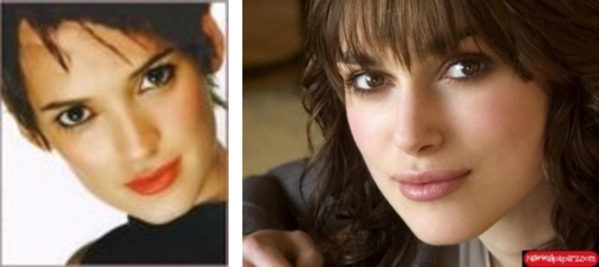 left Winona Ryder; right Keira Knightley