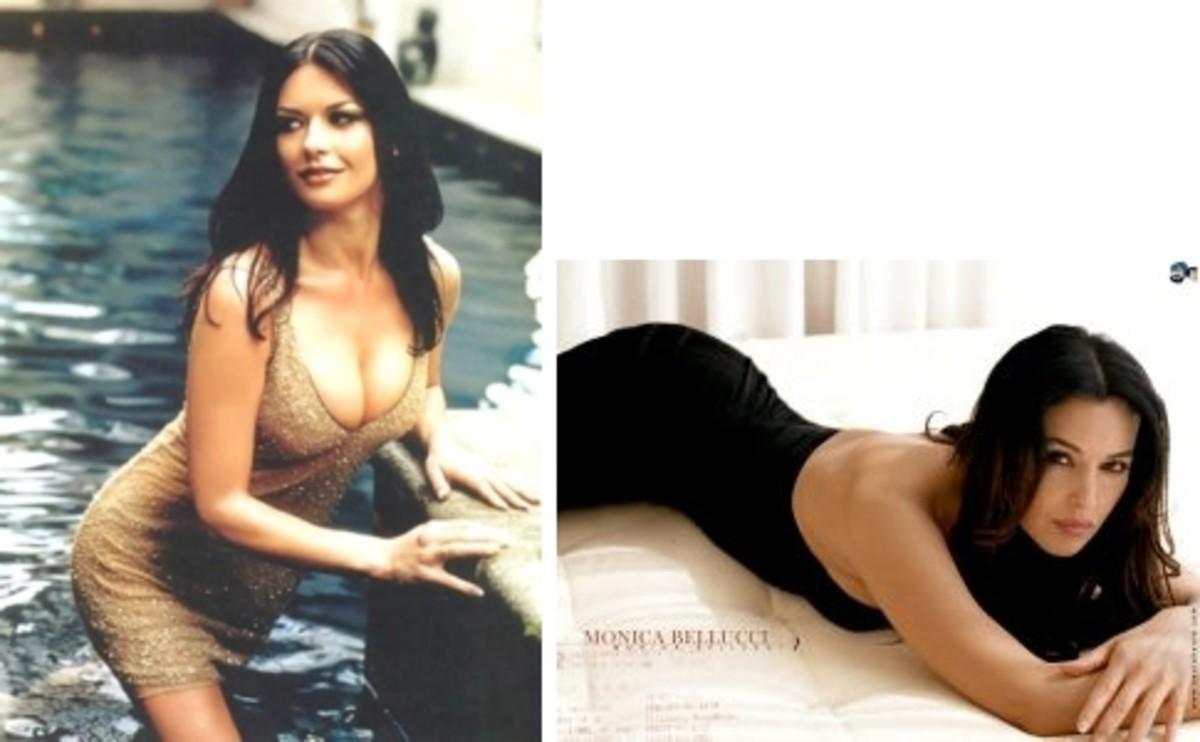 at left is Catherine Zeta Jones; at right is Monica Bellucci