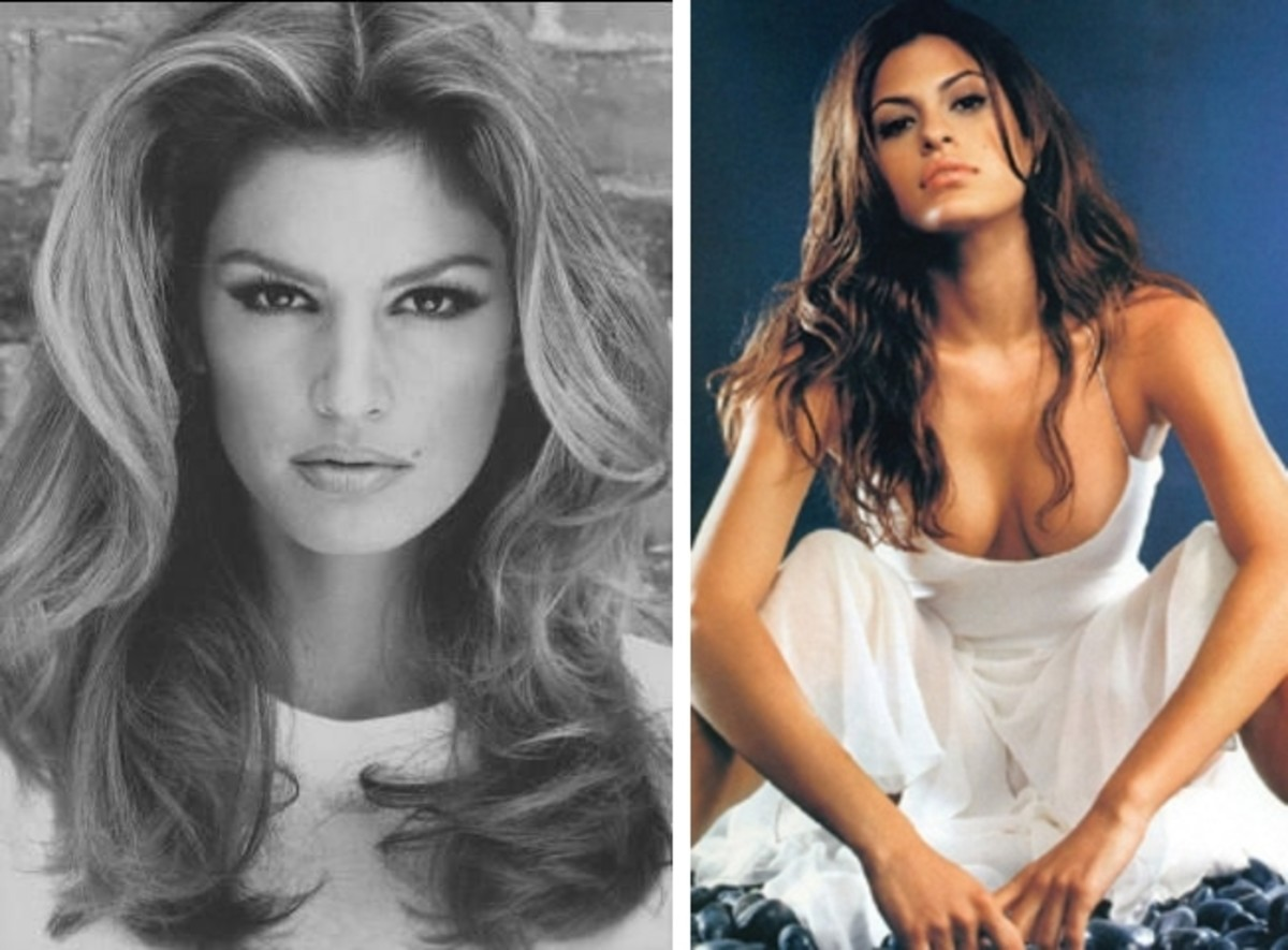 left Cindy Crawford; right Eva Mendes