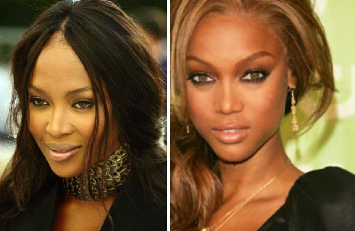 top & bottom left is Naomi Campbell; top & bottom right is Tyra Banks