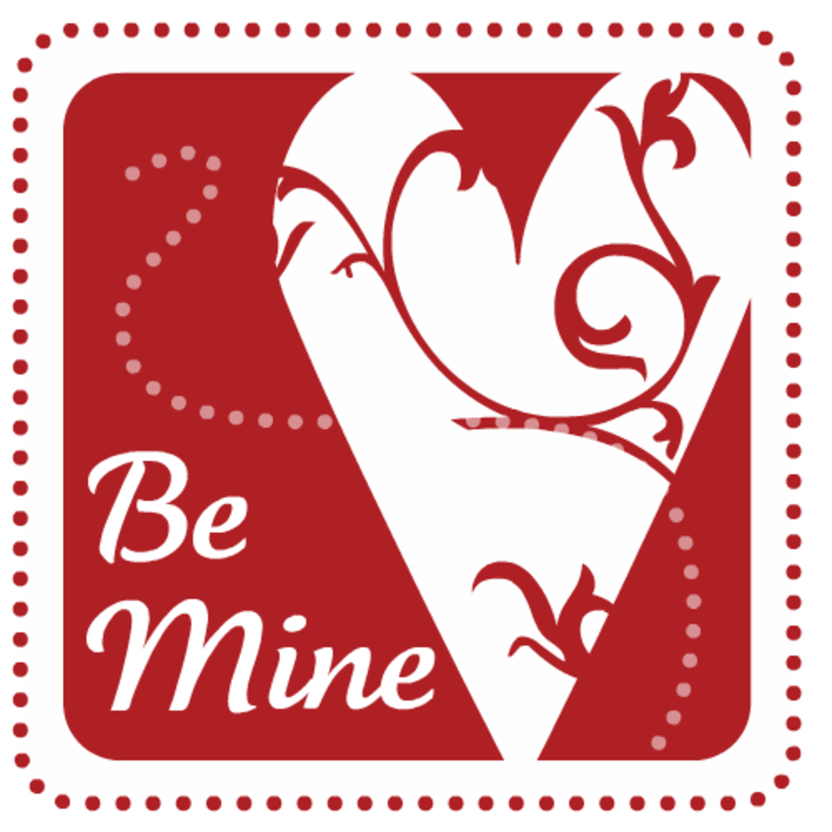 Be Mine stamp free Valentine's Day clip art