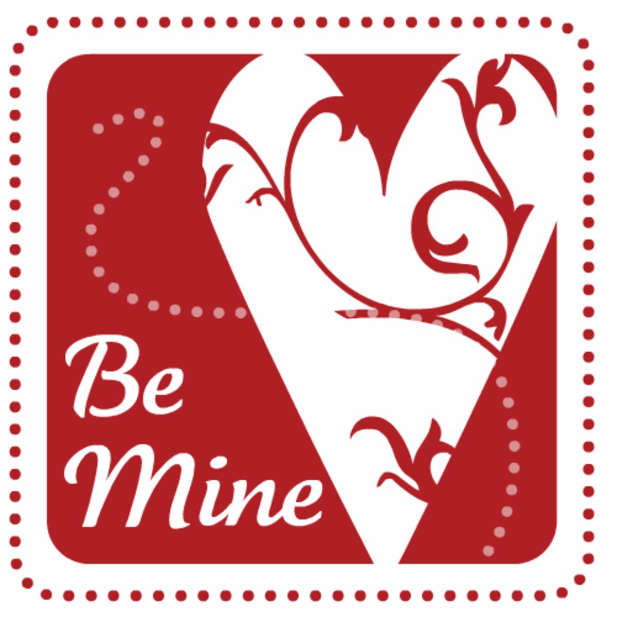 Be Mine stamp free Valentine's Day clip art