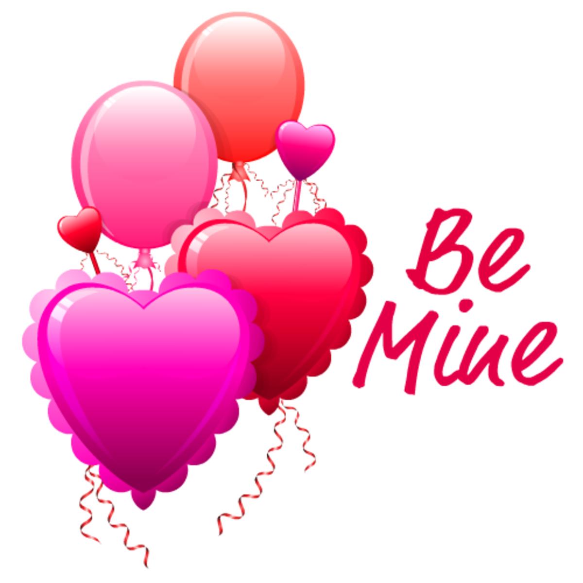 """Valentine's Day balloon clip art """"Be Mine"""""""