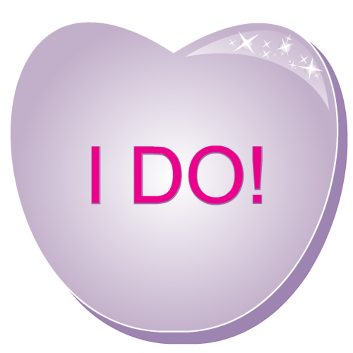 Free valentine clipart: I Do! purple candy heart