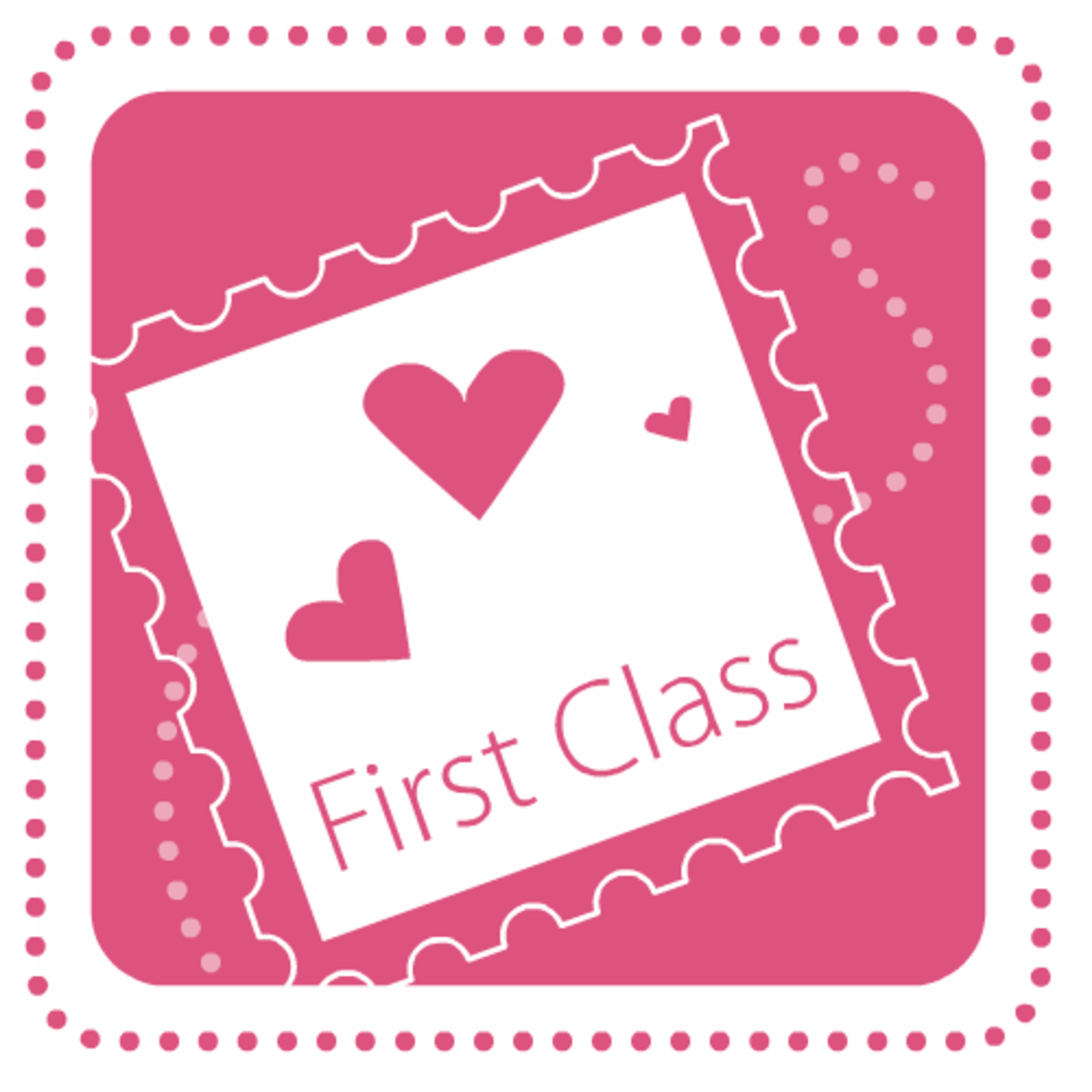 First Class with hearts stamp Valentine's Day clip art