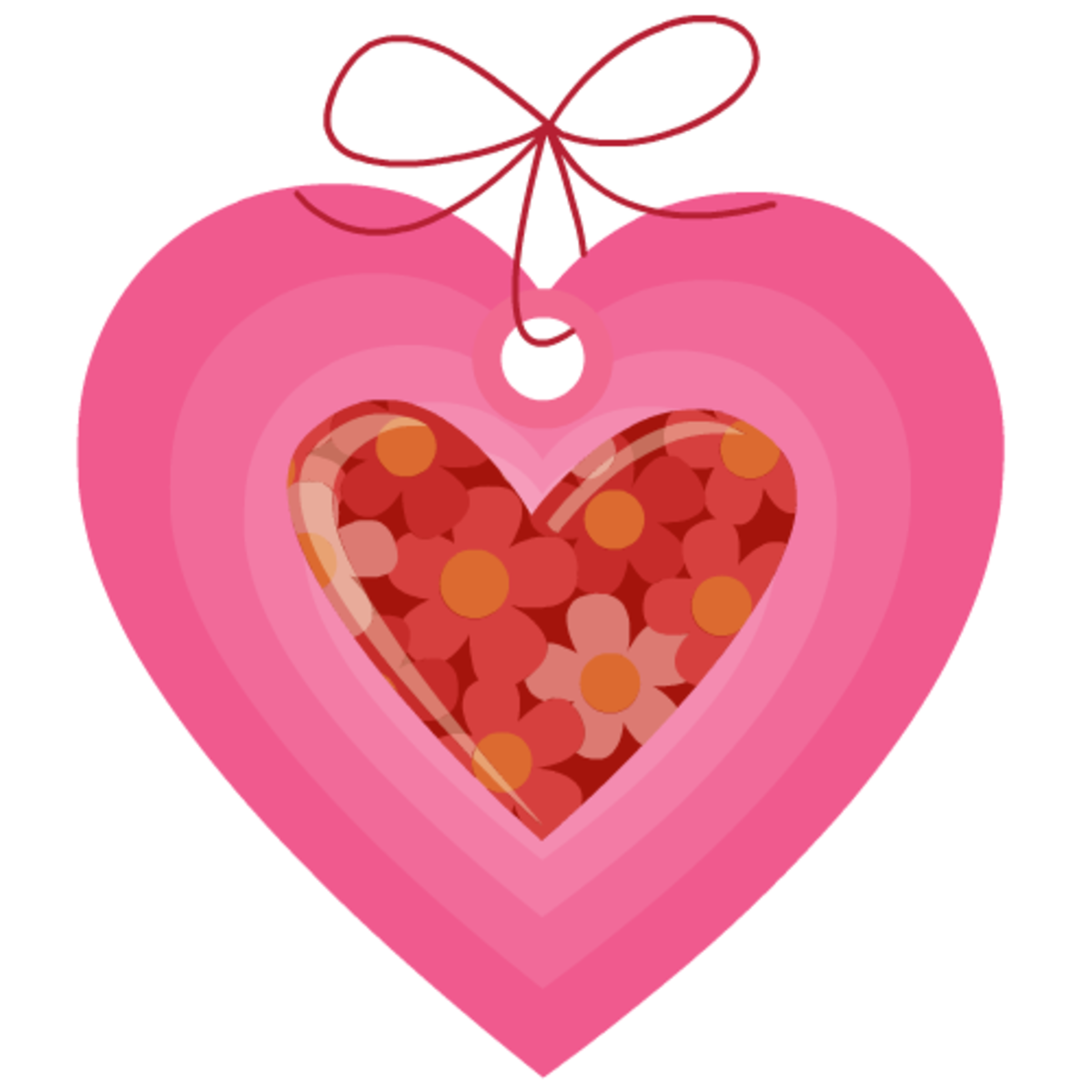 Valentine clip art: pink and red heart tag