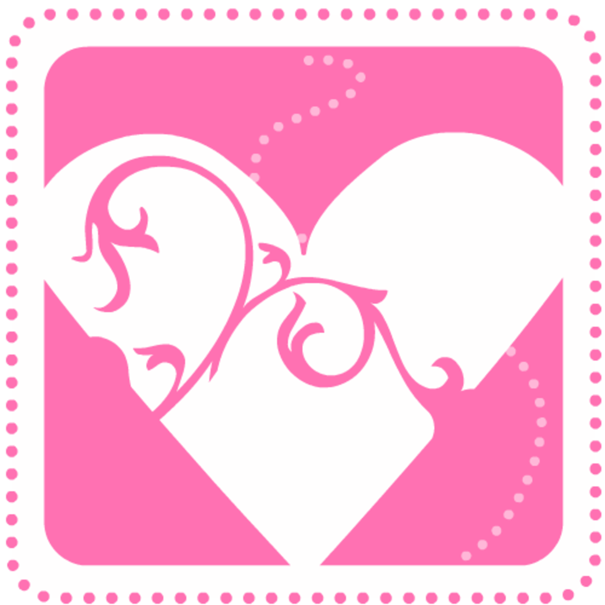 Valentine's Day clip art: Pink heart with swirls and dots