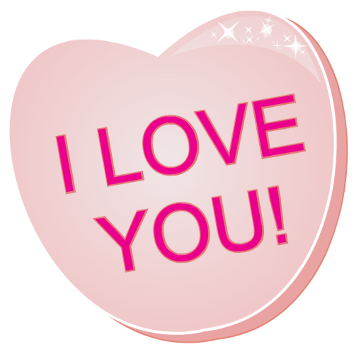 Free valentines clip art: I Love You! pink candy heart