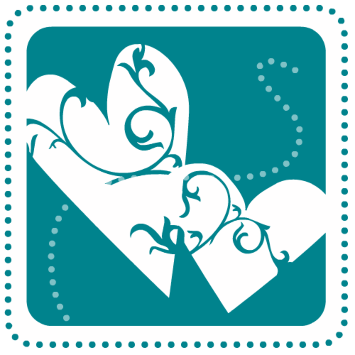 Valentine clip art: Two teal hearts with swirls and dots