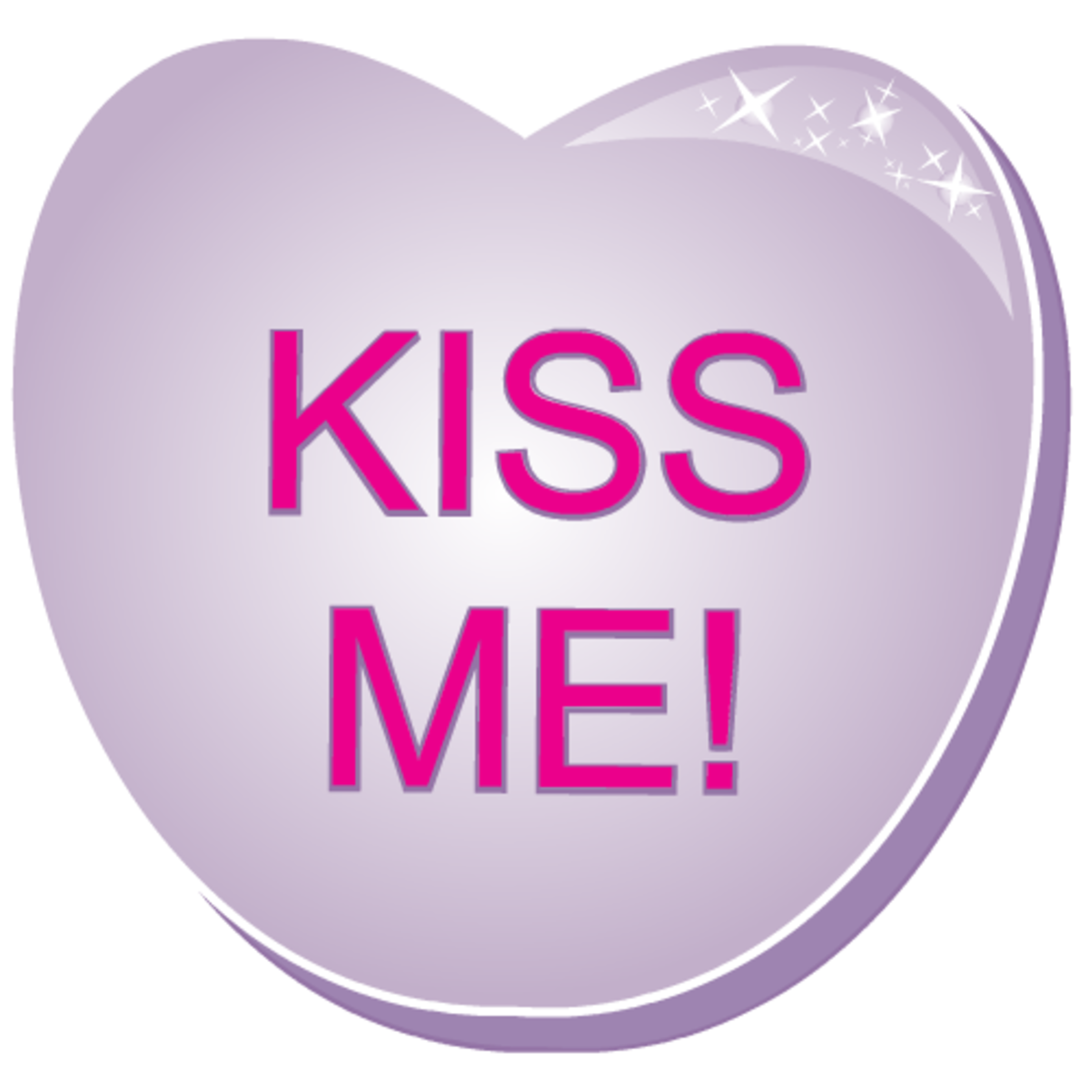 Free valentines clipart: Kiss Me! purple candy heart