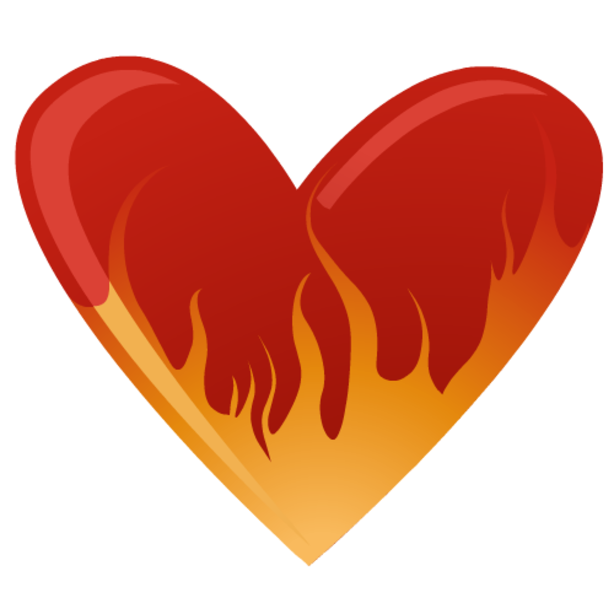 Valentine's Day heart on fire clip art