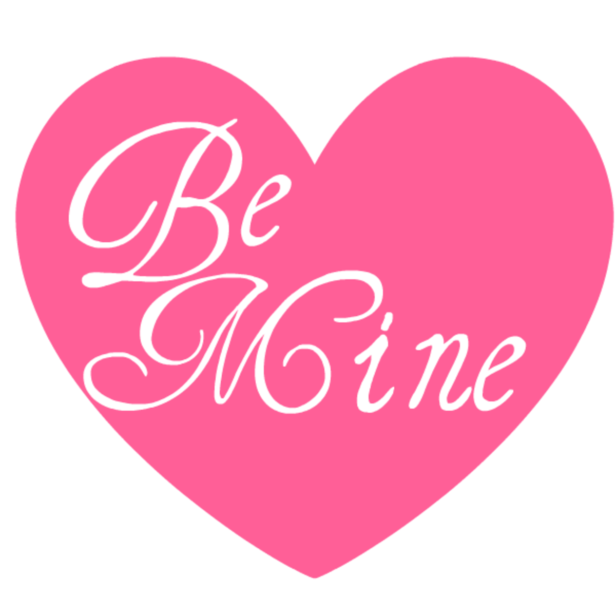 Be Mine pink heart Valentine clip art