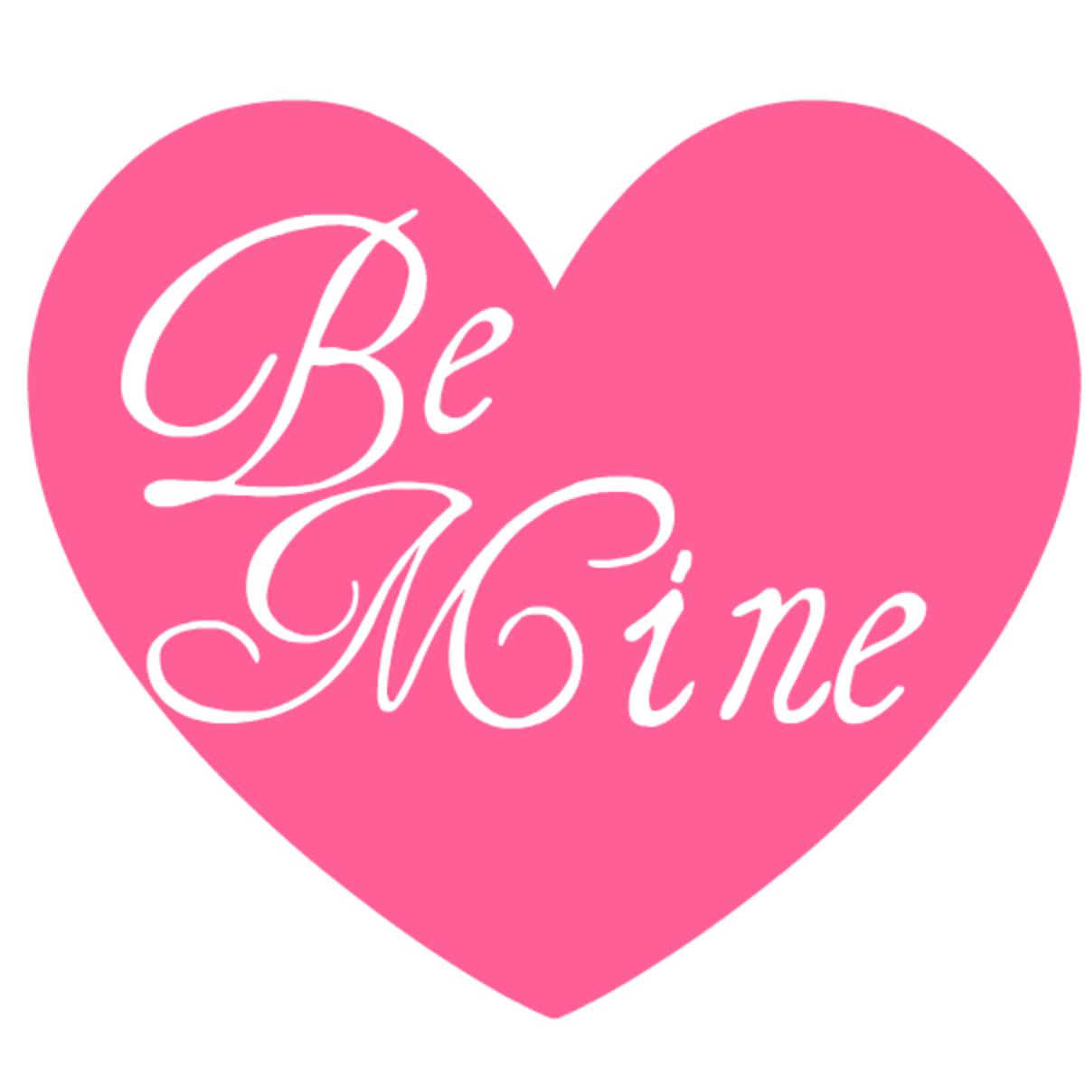 Be Mine pink heart Valentine clip art