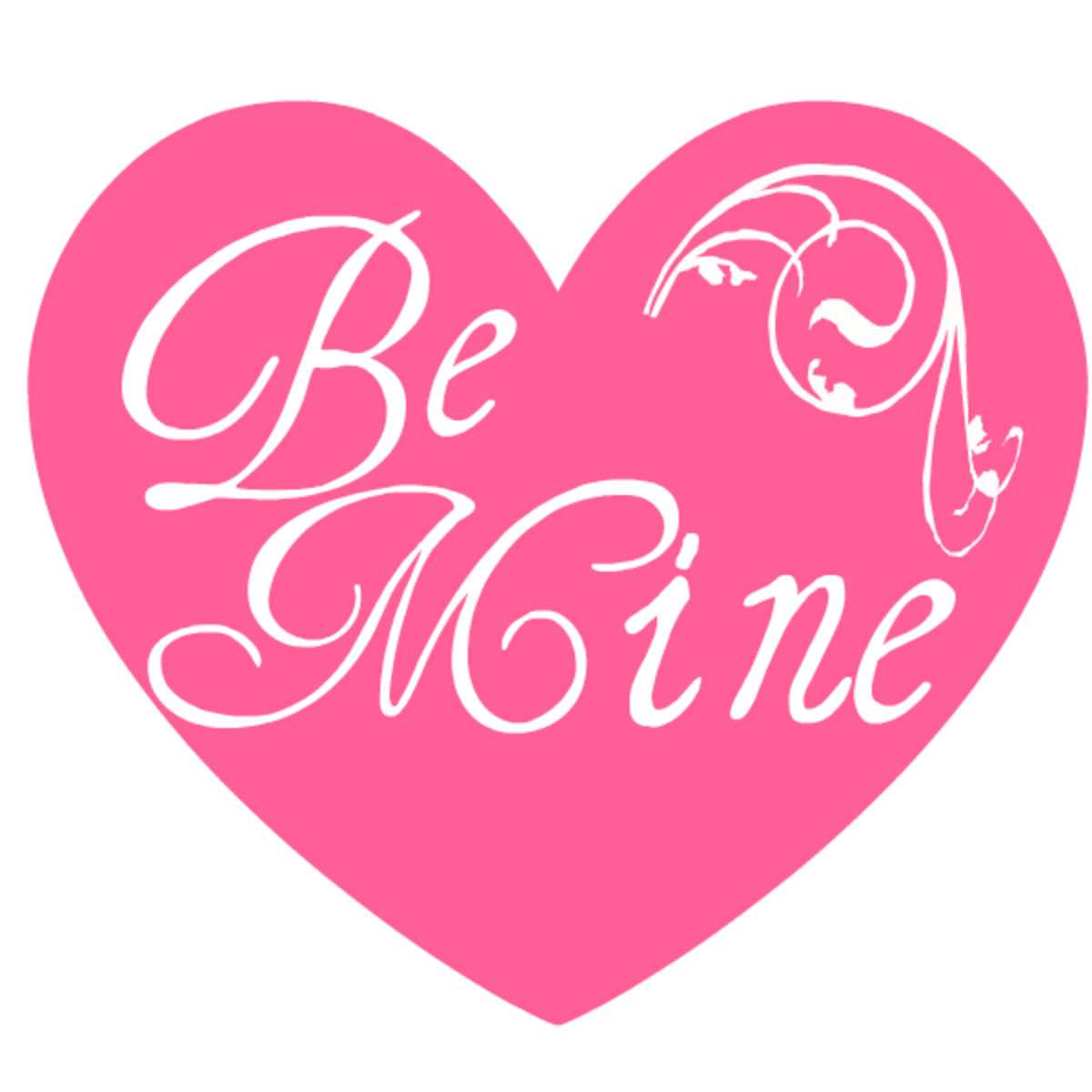 Be Mine pink heart with scrollwork Valentine's Day  clipart