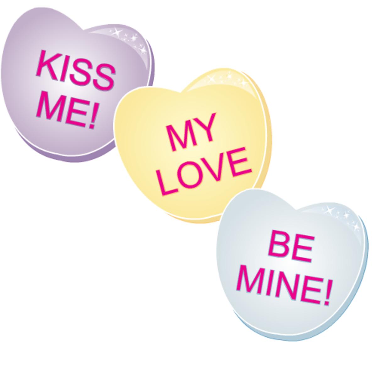 Free valentine clip art: Three candy hearts