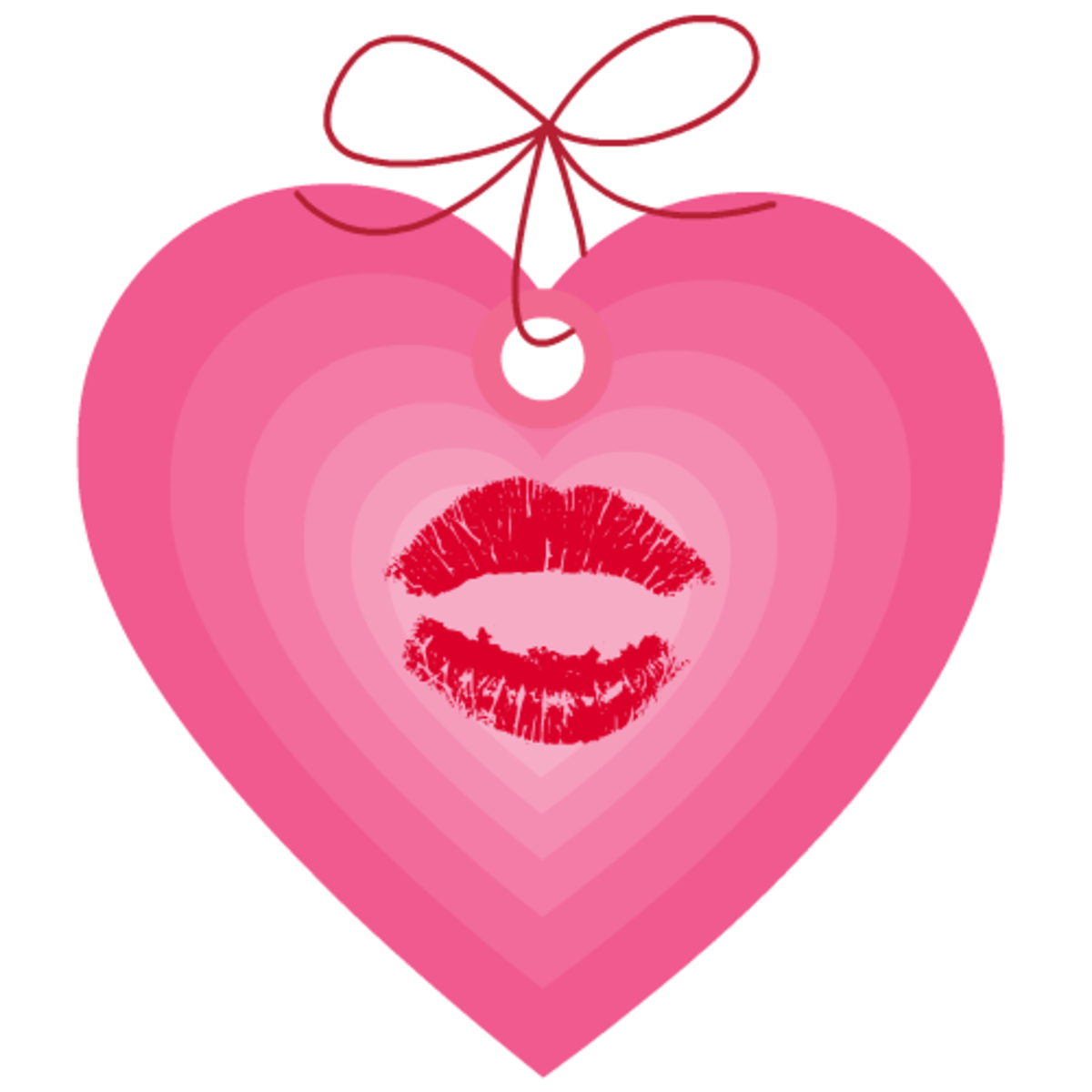 Valentine clip art: pink and red kiss heart tag