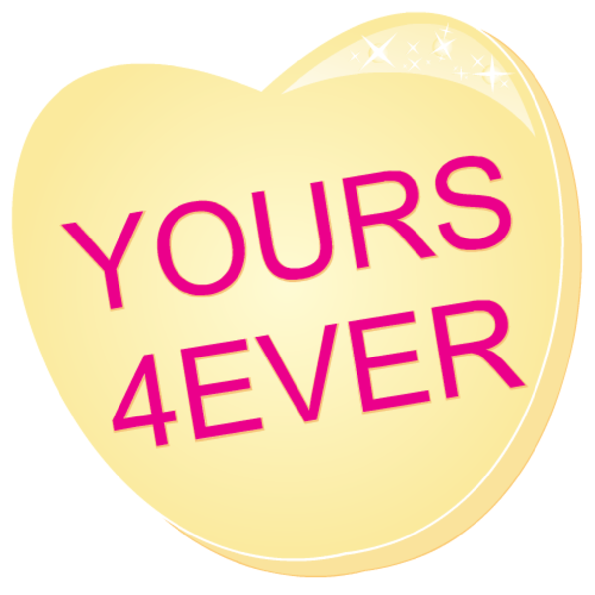 Valentine clip art: Yours Forever yellow candy heart