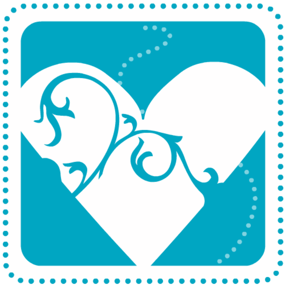 Free Valentine's Day clip art: Turquoise heart with swirls and dots