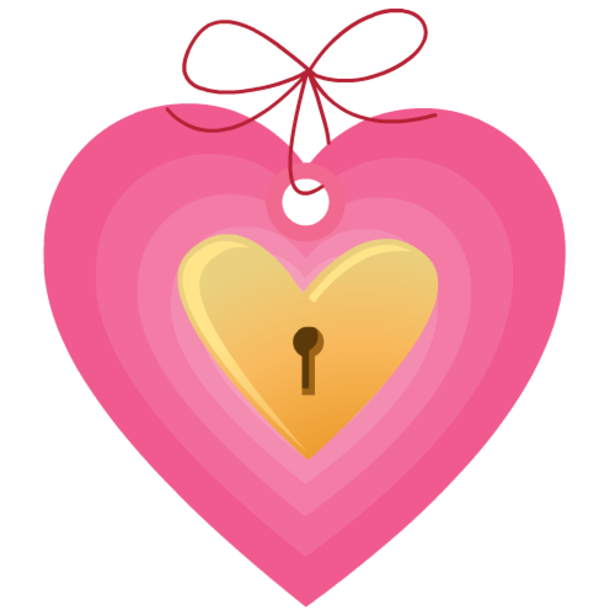 Valentine clip art: pink and yellow locked heart tag