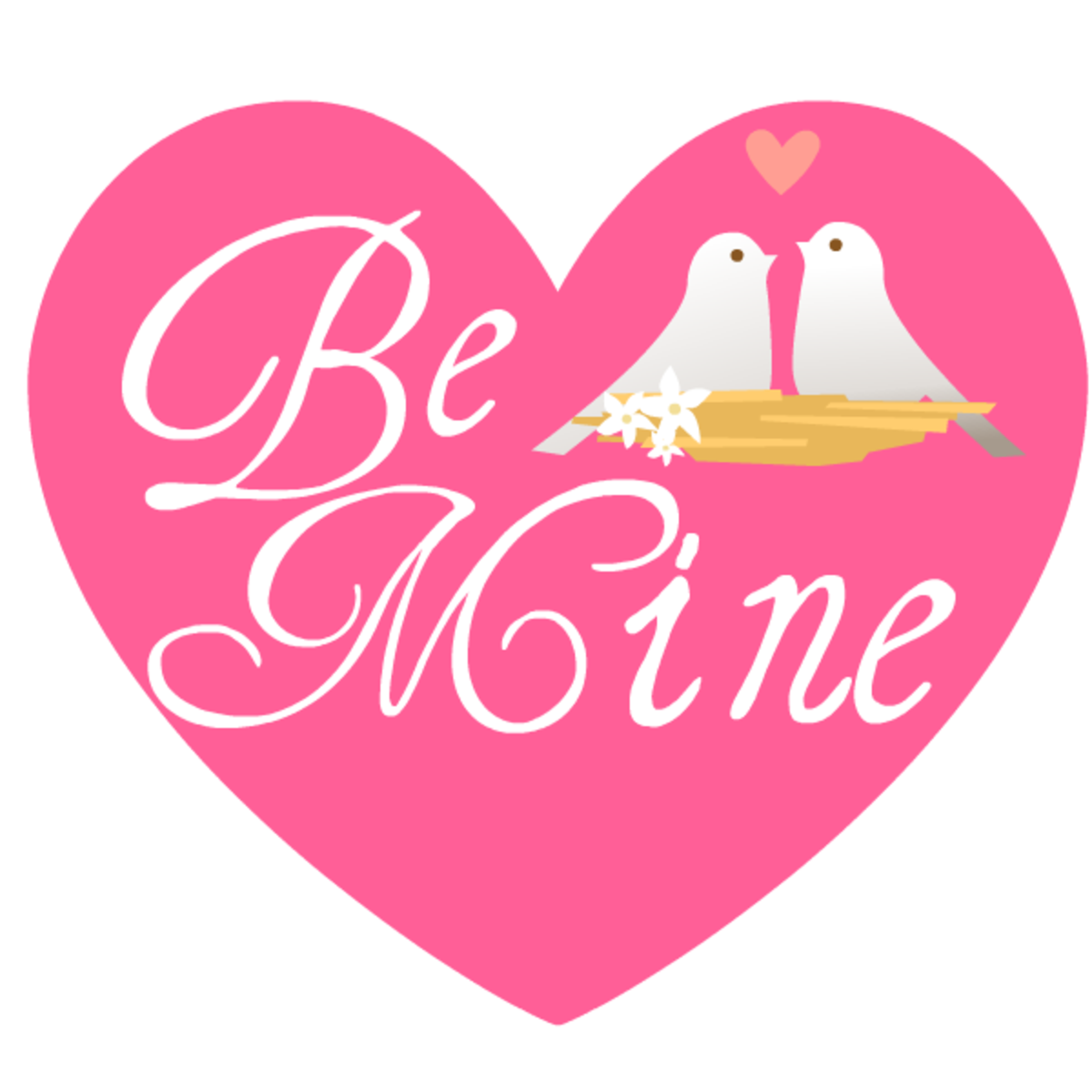Be Mine pink heart with two lovebirds free clip art