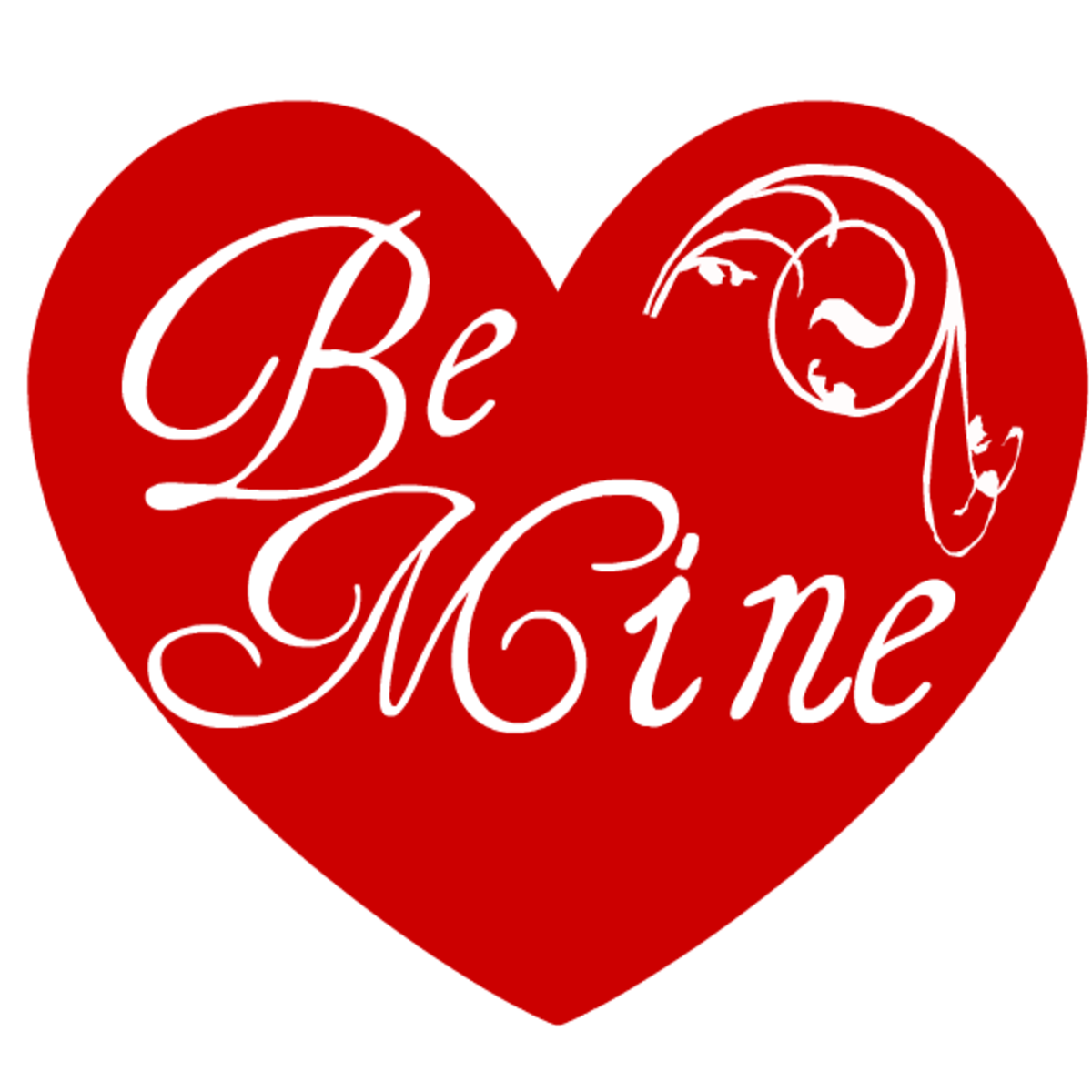 Be Mine red heart with scrollwork free clip art