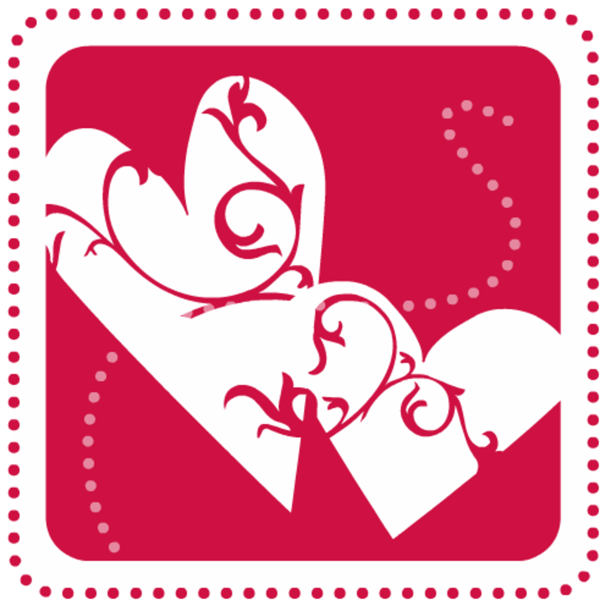 Free Valentine's Day clip art: Two red hearts with swirls and dots