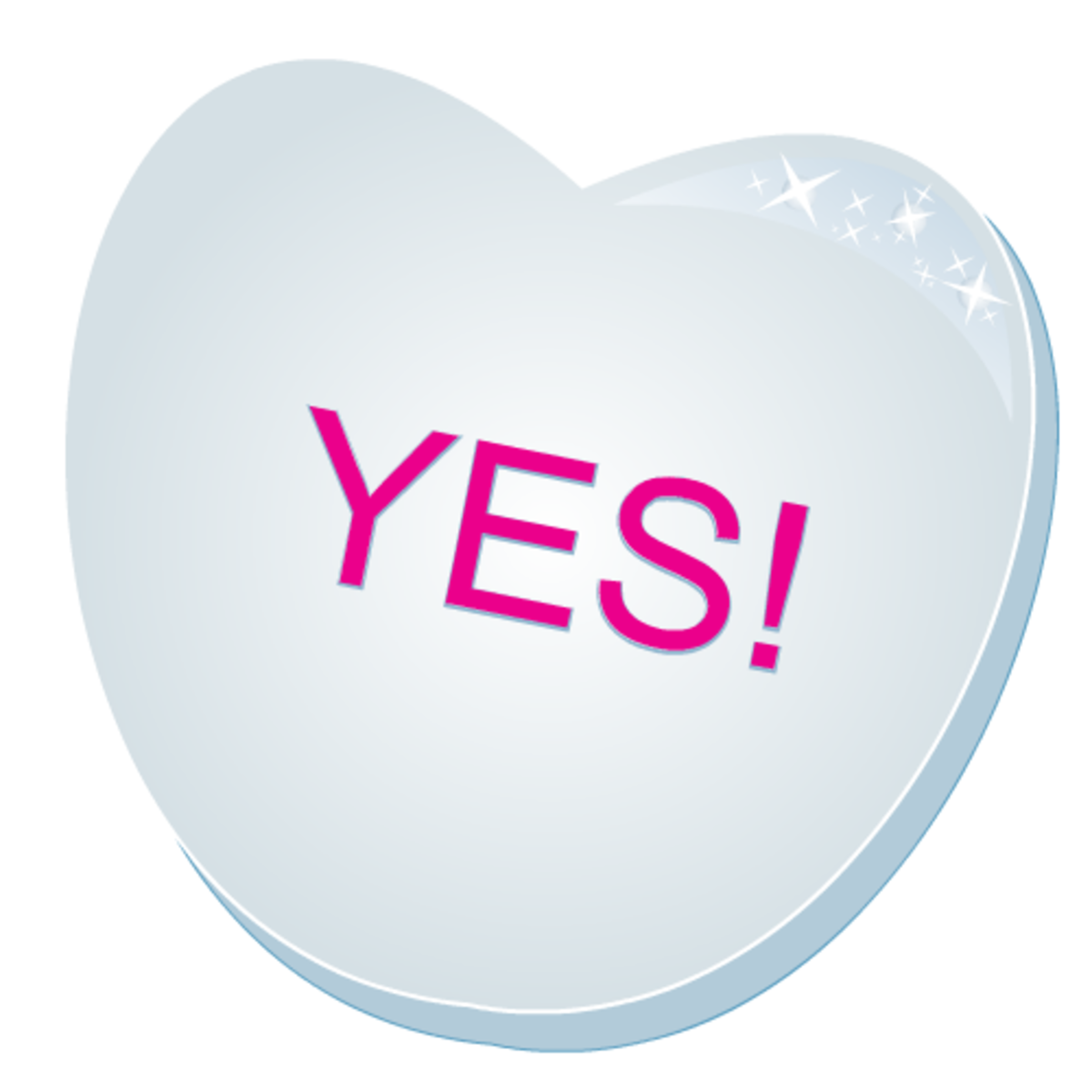 Valentines clip art: Yes! blue candy heart