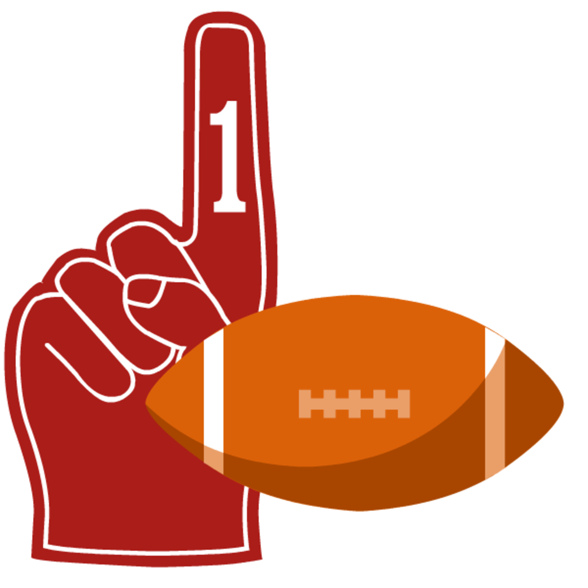 Red number one finger with football clipart