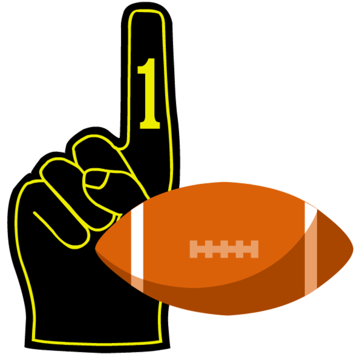 Black number one finger with football clipart