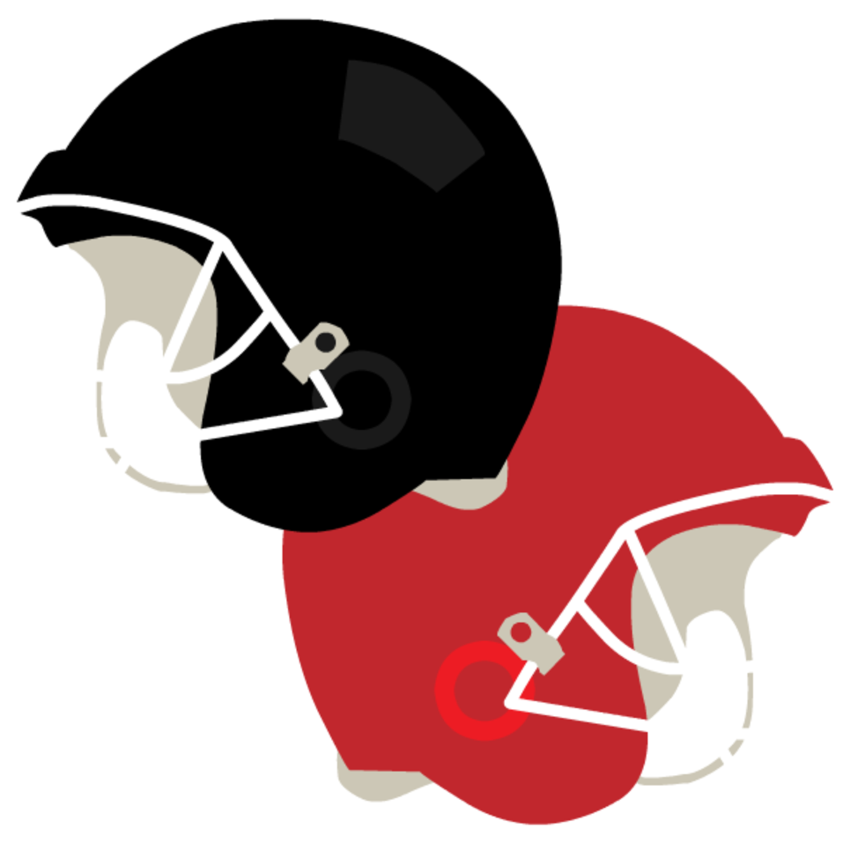 Black and red football helmets clipart