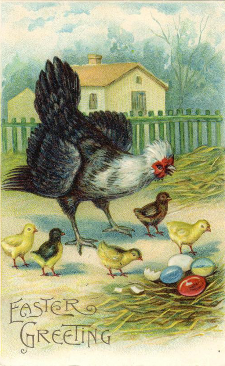 Vintage rooster with Easter eggs and baby chicks