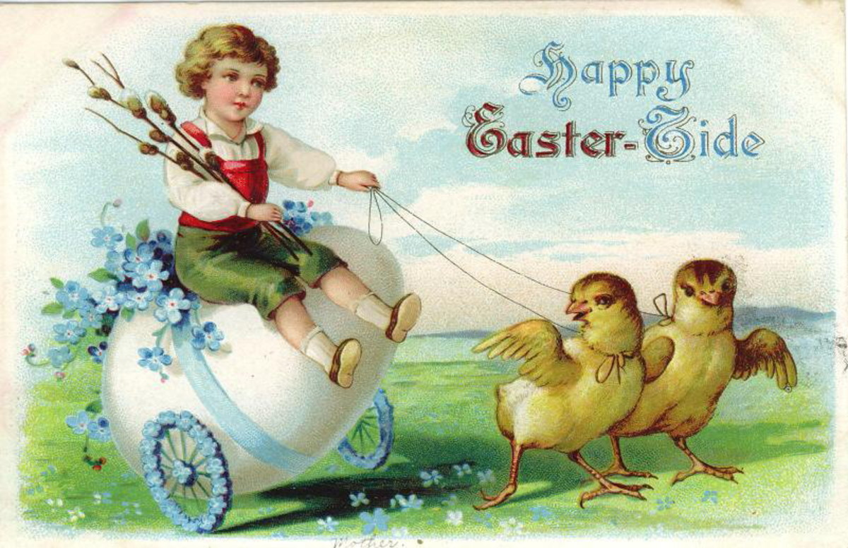 Vintage little boy riding egg cart pulled by two Easter chicks