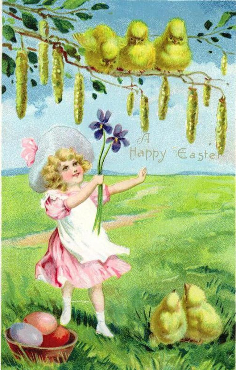 Little girl in pink dress with five Easter chicks