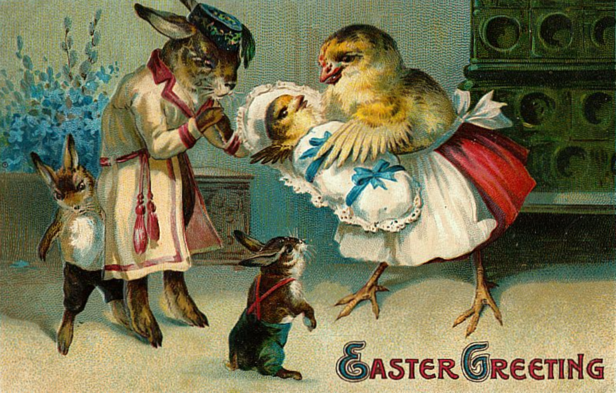 Vintage Easter greeting cards: Rabbit and chicken family with baby chick
