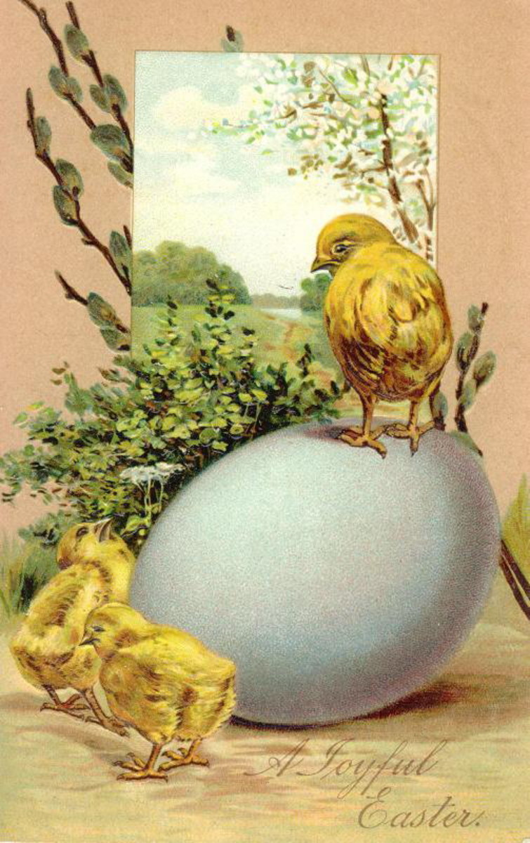 Three vintage Easter chicks with egg and pussy willows