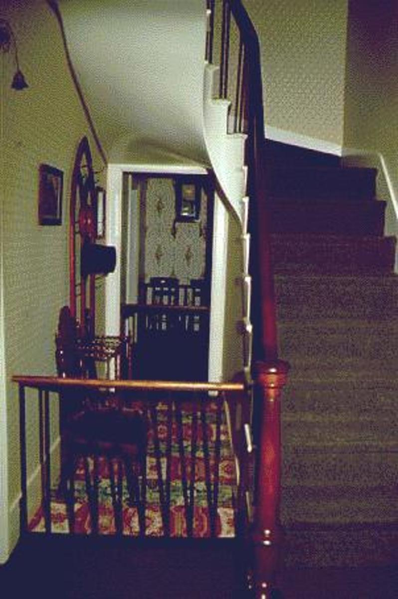 The Stairway Where President Lincoln Is Seen Often In His Former Home.