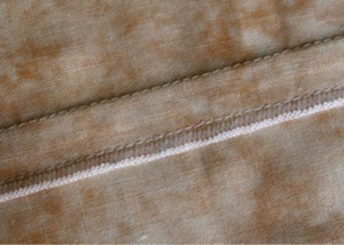 Showing how the seam will appear on the wrong side (inside) of the garment.