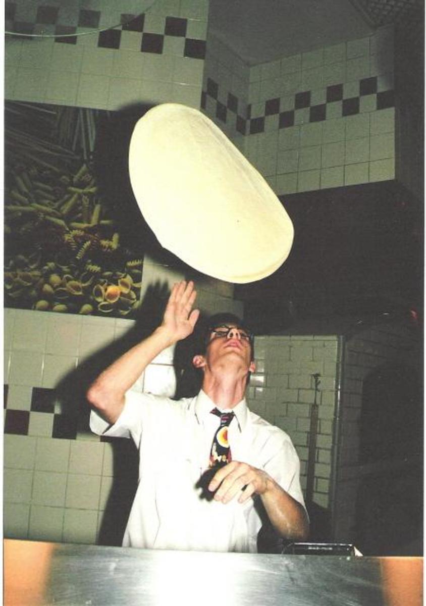 me tossing dough, Buffalo 2001 wing pizza
