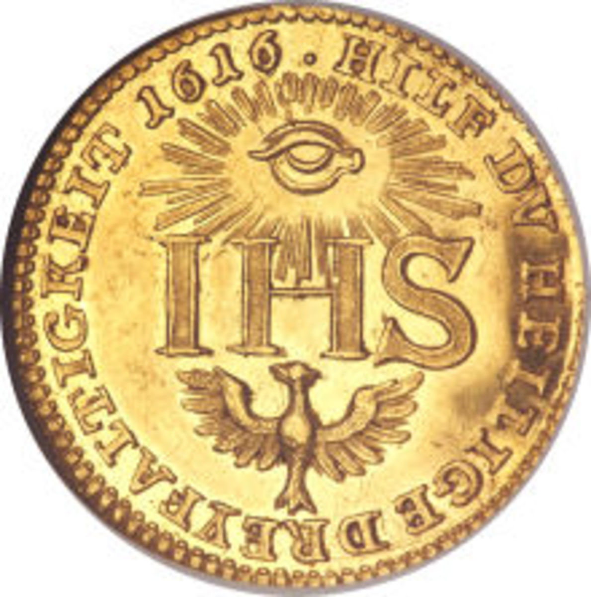 A gold coin with the all-seeing eye in the sun, and a Phoenix rising out of the ashes and the IHS. 1616 Saxon (German) Ducat.