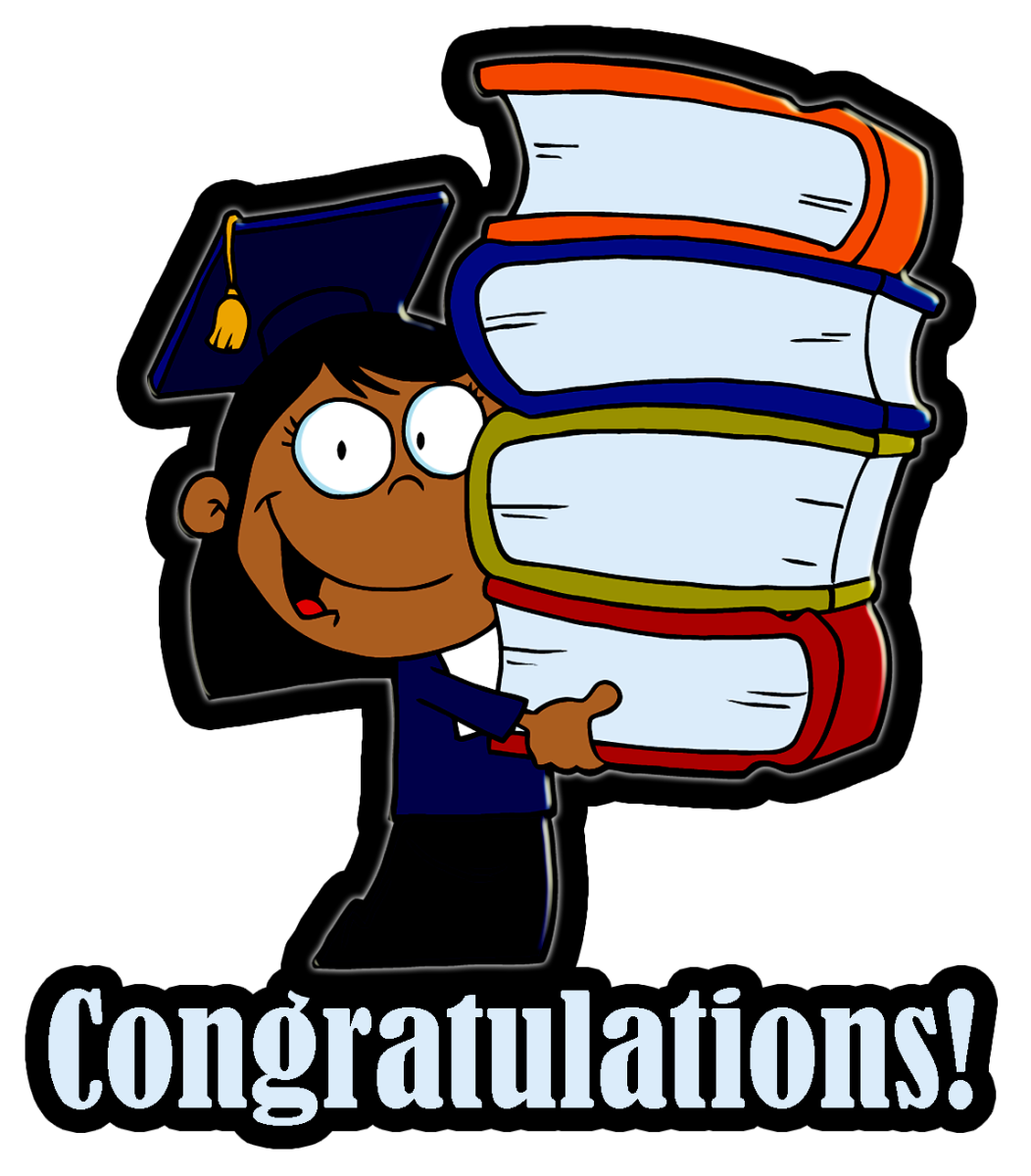 African American girl graduation clipart