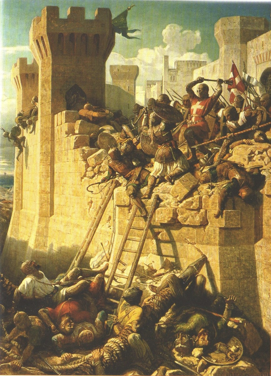 The Knights Hospitaller defending Acre, a painting by Dominique-Louis Papéty.