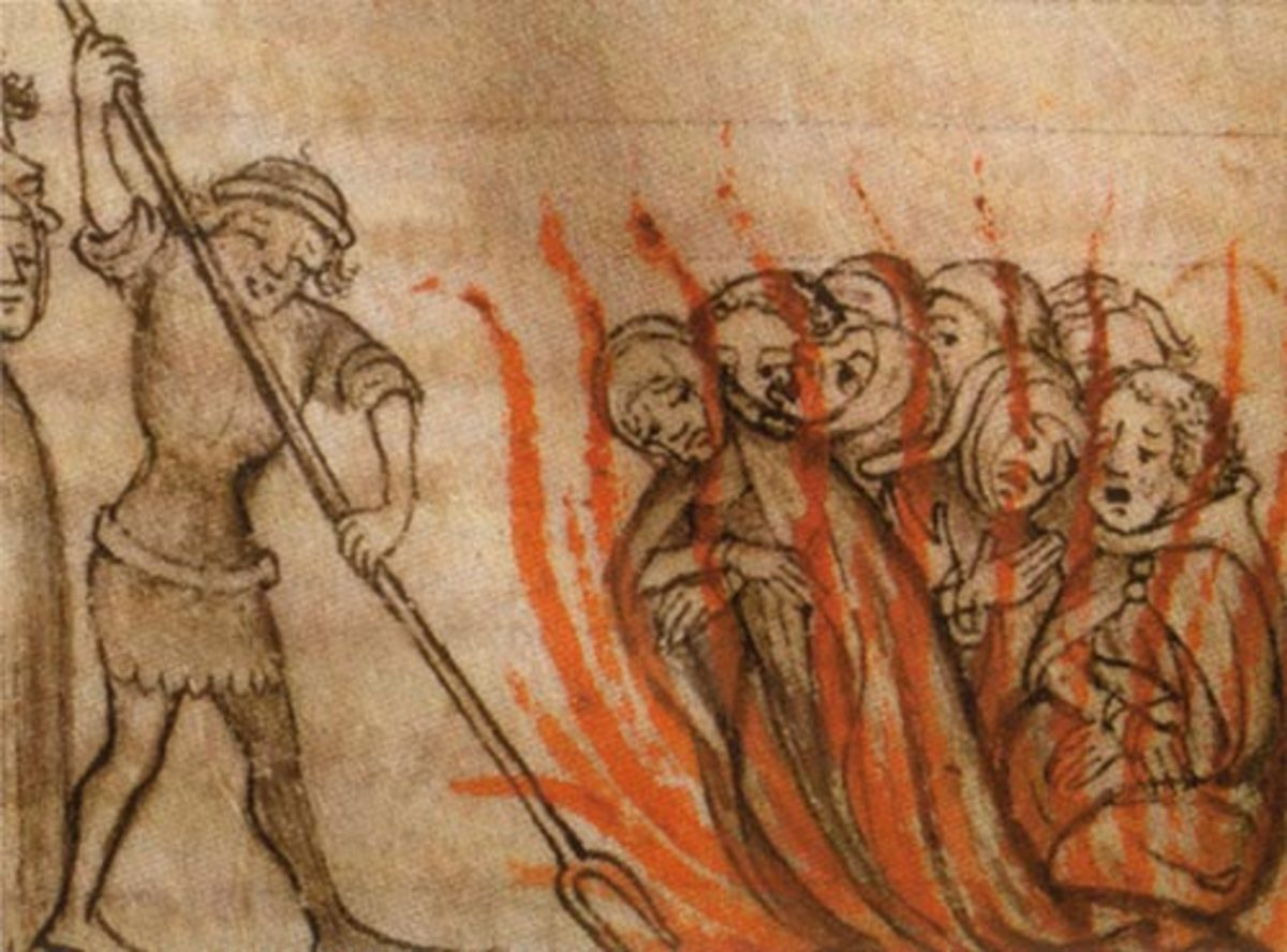 The Knights Templar being burned at the stake. An anonymous picture dated to 1384.