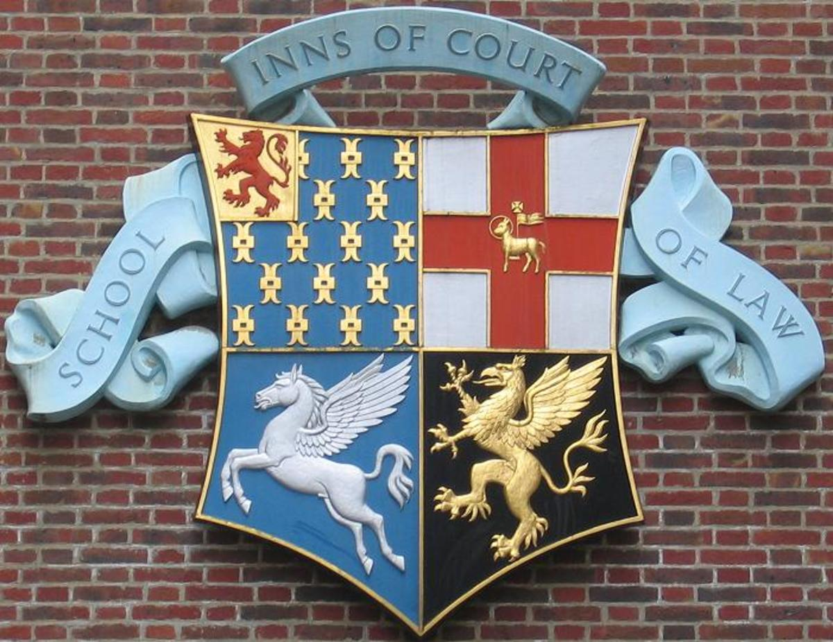 The combined coats of arms of the four Inns of Court, Gray's Inn, Lincoln's Inn, Middle Temple, and Inner Temple.