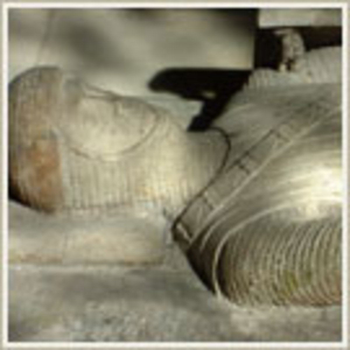 Close up image of one of the stone Knights Templar