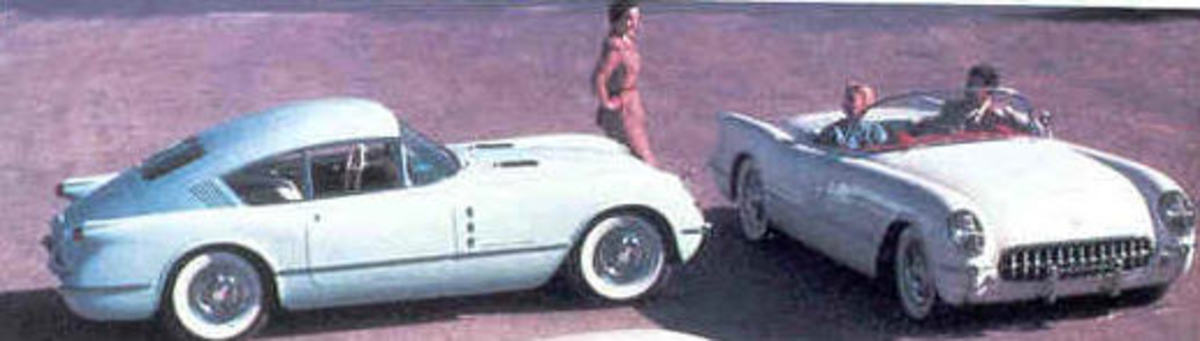 Corvair is on the left, a Corvette on the right